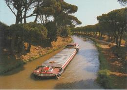 CPSM En Parcourant Le Languedoc - Le Canal Du Midi (avec La Péniche Ben-Hur En Très Beau Plan) - Péniches