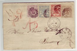 Denmark - 1870 4 Color Registered Cover To United Kingdom With 2sk-3sk-4sk-8sk Franking Scarce - 1864-04 (Christian IX)