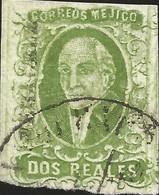 J) 1856 MEXICO, HIDALGO, 2 REALES GREEN, VERACRUZ DISTRICT, PLATE II, CIRCULAR CANCELLATION, MN - Mexico