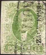 J) 1856 MEXICO, HIDALGO, 2 REALES GREEN, THICK PAPER, ZACATECAS DISTRICT, BLACK CANCELLATION, MN - Mexico