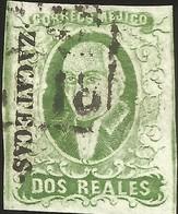 J) 1856 MEXICO, HIDALGO, 2 REALES GREEN, ZACATECAS DISTRICT, PLATE II, BLACK BOX CANCELLATION, MN - Mexico