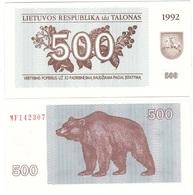 Lithuania - 500 Talonas 1992 P. 44 UNC Lemberg-Zp - Lithuania
