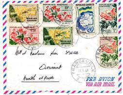 Lettre Par Avion De Franceville Gabon (15.09.1961) Pour Avricourt Cassia Tulipier Combretum - Gabon (1960-...)