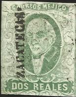 J) 1856 MEXICO, HIDALGO, 2 REALES DARK GREEN, ZACATECAS DISTRICT, PERFECT MARGINS, MN - Mexico