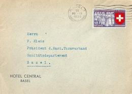 """Motiv Brief  """"Hotel Central, Basel""""              1939 - Suisse"""