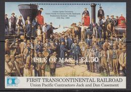 1992 Isle Of Man USA Railways Souvenir Sheet MNH @   BELOW FACE VALUE - Isla De Man