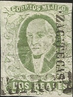 J) 1856 MEXICO, HIDALGO, 2 REALES, GREEN APPLE, ZACATECAS DISTRICT, LINEAL CANCELLATION, MN - Mexico