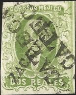 J) 1856 MEXICO, HIDALGO, 2 REALES GREEN, ZACATECAS DISTRICT, PLATE II, ZACATECAS LINEAL CANCELLATION, MN - Mexico