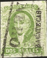 J) 1856 MEXICO, HIDALGO, 2 REALES GREEN, PLATE II, ZACATECAS DISTRICT, BLACK BOX CANCELLATION, MN - Mexico