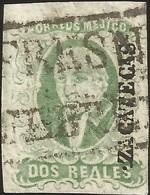 J) 1856 MEXICO, HIDALGO, 2 REALES DARK GREEN, ZACATECAS DISTRICT, PLATE II, FRESNILLO, BLACK BOX CANCELLATION, MN - Mexico