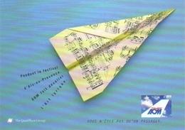 """Carte Postale  """"Cart'Com"""" (1999) - AOM (feuille De Notes De Musique En Forme D'avion) - Aviation"""
