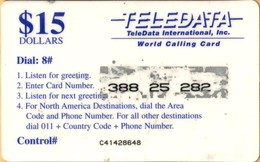 Angola - Teledata, Military Card, Used In Angola By UN Soldiers, Dial #08, Blue Value & Logo, 15$, Used - Angola