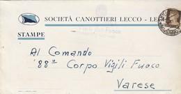 Como. 1942. Annullo Guller COMO- CORRISPONDENZE Su Lettera  SOCIETA' CANOTTIERI LECCO - 1900-44 Victor Emmanuel III