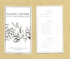 Carte Parfumée Perfume Card MAISON LANCOME HAUTE PARFUMERIE * R/V - Parfumkaarten