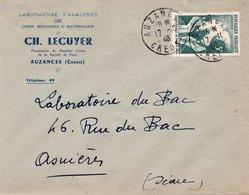 LSC 1948 - Entête Laboratoires D'Analyse CH.LECUYER à AUZANCES (Creuse) - Cachet AUZANCES Sur YT 761 - Marcophilie (Lettres)