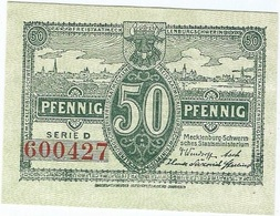 Alemania (NOTGELD) - Germany 50 Pfennig 1-5-1922 Mecklenburg DNB M21 2.a.2 UNC Ref 3496-1 - [11] Emisiones Locales