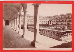CIRCA 1870s GIACOMO BROGI: NAPOLI. CHIOSTRO DELLA CERTOSA DI S.MARTINO - OLD ALBUMINA FOTO 16x11cm ORIGINAL- BLEUP - Foto
