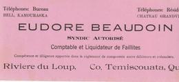 Eudore Beaudoin Syndic Autorise Comptable Et Liquidateur De Faillites, Riviere Du Loup, Co. Temiscouata, Quebec - Bank & Insurance