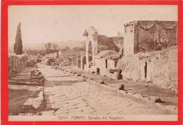 1870s GIACOMO BROGI: POMPEI. STRADA DEI SEPOLCRI - OLD ALBUMINA FOTO 16x11cm ORIGINAL- BLEUP - Foto