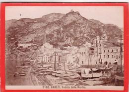 1870s GIACOMO BROGI: AMALFI, VEDUTTA DELLA MARINA - OLD ALBUMINA FOTO 16x11cm ORIGINAL- BLEUP - Foto