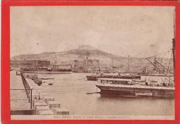 1870s GIACOMO BROGI: NAPOLI. VEDUTA DEL PORTO MILITARE E CASTELLO SANT'ELMO - OLD ALBUMINA FOTO 16x11cm ORIGINAL- BLEUP - Foto