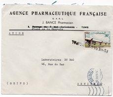"""LSC - Obltération Linéaire """"ASNIERES PRINCIPAL SEINE """" Sur Enveloppe Entête Agence Pharmaceutique Française à TUNIS - Postmark Collection (Covers)"""