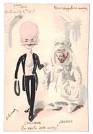 RARE CARTE DESSIN AQUARELLÉ DE ROBERTY (ILLUSTRATEUR) CARICATURE SATIRIQUE POLITIQUE De JAURES + CHILLAUX - Autres Illustrateurs