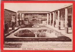 1870s GIACOMO BROGI: POMPEI. CASA DI CSTORE E POLLUCE - OLD ALBUMINA FOTO 16x11cm ORIGINAL- BLEUP - Foto
