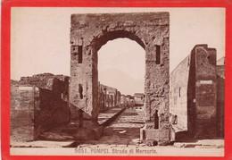 1870s GIACOMO BROGI: POMPEI. STRADA DI MERCURIO - OLD ALBUMINA FOTO 16x11cm ORIGINAL- BLEUP - Foto