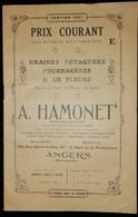 CATALOGUE 1927 TARIF GRAINES POTAGÈRES FLEURS A HAMONET ANGERS - 2. Graines