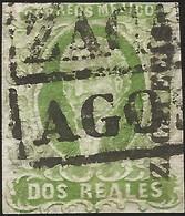 J) 1856 MEXICO, HIDALGO, 2 REALES GREEN, PLATE III, ZACATECAS DISTRICT, BLACK BOX CANCELLATION, MN - Mexico