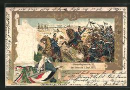 Lithographie Reichseinigungskriege, Ulanen-Regiment Nr. 10 Bei Sedan - Militari