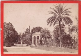 1870s GIACOMO BROGI: NAPOLI. VILLA NAZIONALE. TEMPIO DI VIRGILIO - OLD ALBUMINA FOTO 16x11cm ORIGINAL- BLEUP - Foto