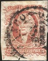 J) 1856 MEXICO, HIDALGO, 4 REALES RED, PLATE II, MEXICO DISTRICT, CIRCULAR CANCELLATION, MN - Mexico