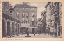 1910s CPA- PLAZA DE SAN NICOLAS. VINTAGE PANORAMA D'EPOQUE. EDICION PAMPLONA FOTO A.DE LEON - BLEUP - Navarra (Pamplona)