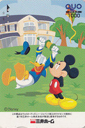 Carte Prépayée Japon - DISNEY - Série Colorée - Donald Balançoire - Japan Prepaid Quo Card - Disney