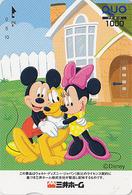 Carte Prépayée Japon - DISNEY - Série Colorée - MICKEY MINNIE & Chien PLUTO Dog - Japan Prepaid Quo Card - Disney