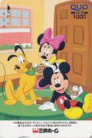 Carte Prépayée Japon - DISNEY - Série Colorée - MICKEY MINNIE & Chien PLUTO Dog S'amusant - Japan Prepaid QUO Card - Disney