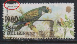 BELIZE Scott # 739b Used - White Capped Parrot - Pulled Perfs - Belize (1973-...)