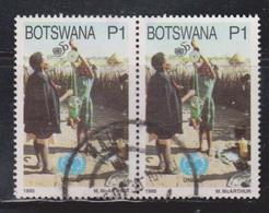 BOTSWANA Scott # 585 Used Pair - UN 50th Anniversary - UNICEF - Botswana (1966-...)