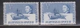 BRITISH ANTARCTIC TERRITORY Scott # 1 MH X 2 - QEII & Ship - Unused Stamps