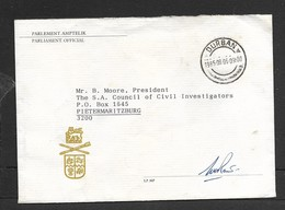 South Africa,Parliament Official Small Envelope, From MP (signed) DURBAN C.d.s. 1985. 08.06 - Covers & Documents