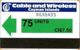 Cayman Island - CAY-AU-4, Green (control Without CI),  Autelca, 75 U, 70.000ex, 1986, Used - Kaimaninseln (Cayman I.)