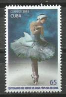 Cuba 2015 100th Anniversary Of Ana Paulova Ballet Dancer In Cuba 1v MNH - Baile