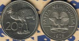 PAPUA NEW GUINEA 20 TOEA EMU BIRD FRONT BIRD EMBLEM BACK 1975 VF KM5 READ DESCRIPTION CAREFULLY!! - Papuasia Nuova Guinea