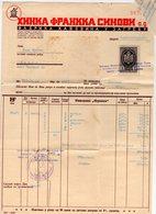 1939 YUGOSLAVIA, CROATIA, ZAGREB, HINKA FRANKA SINOVI, COFFEE FACTORY, INVOICE ON LETTERHEAD, 1 FISKAL STAMP - Invoices & Commercial Documents