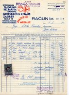 1940 YUGOSLAVIA, CROATIA, ZAGREB, KNAUS BROTHERS, JEWELERS, BADGES AND MEDALS, INVOICE ON LETTERHEAD, 1 FISKAL STAMP - Invoices & Commercial Documents