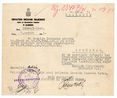 1941 WWII YUGOSLAVIA, CROATIA, NDH, ZAGREB, CROATIAN STATE RAILWAYS, RESCRIPT ON LETTERHEAD - Invoices & Commercial Documents