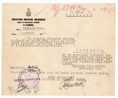 1941 WWII YUGOSLAVIA, CROATIA, NDH, ZAGREB, CROATIAN STATE RAILWAYS, RECEIPT ON LETTERHEAD - Invoices & Commercial Documents