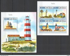 Guinea Bissau 2015 - Lighthouses M/s + S/s Official Issue Mnh - Guinea-Bissau